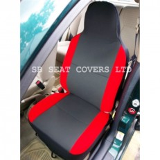 Car Seat Covers - Anthracite Cloth Fabric with Red Bolsters