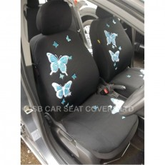 Car Seat Covers 3D Pastel Blue Butterfly Full Set