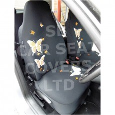 Car Seat Covers 3D Pastel Orange Butterfly Full Set