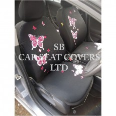 Car Seat Covers 3D Pastel Pink Butterfly Full Set