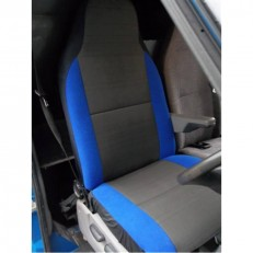 Car Seat Covers - Anthracite Cloth Fabric with Blue Bolsters