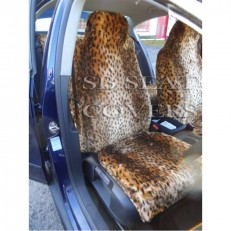 Car Seat Covers Gold Cheetah Faux Fur Full Set