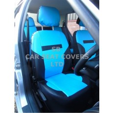 CAR SEAT COVERS, PVC LEATHER, BLACK / sky blue 59.99