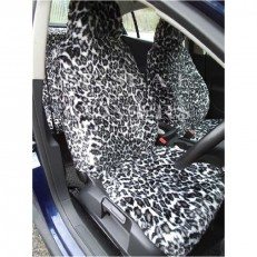 Car Seat Covers Snow Leopard Faux Fur Full Set