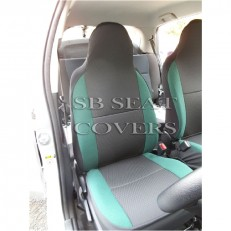 Charcoal Black With Jaguar Green Bolsters Car Seat Covers