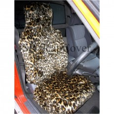 GOLD LEOPARD FAUX FUR CAR SEAT COVERS FULL SET