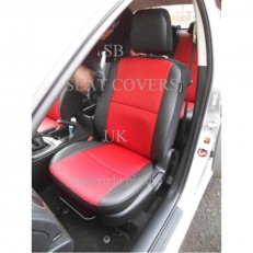 Made to Measure Red and Black Leatherette Car Seat Covers
