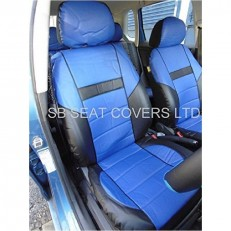 CAR SEAT COVERS, PVC LEATHER, BLACK/blue 59.99