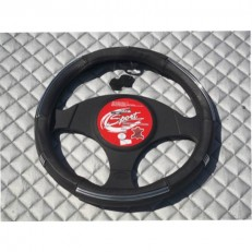 Steering Wheel Cover - Black Leather+ Chrome Effect Trim SW16 M